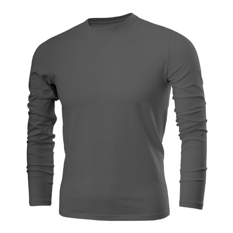 A plain black long sleeved shirt against a white background