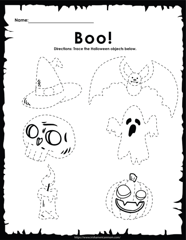 Halloween dotted drawings on an activity sheet for children to trace the outline of the shape
