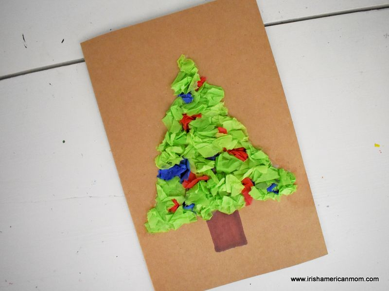 A Christmas greeting card decorated with a tissue paper tree