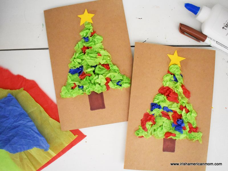 Two homemade Christmas cards decorated with tissue or crepe paper Christmas trees