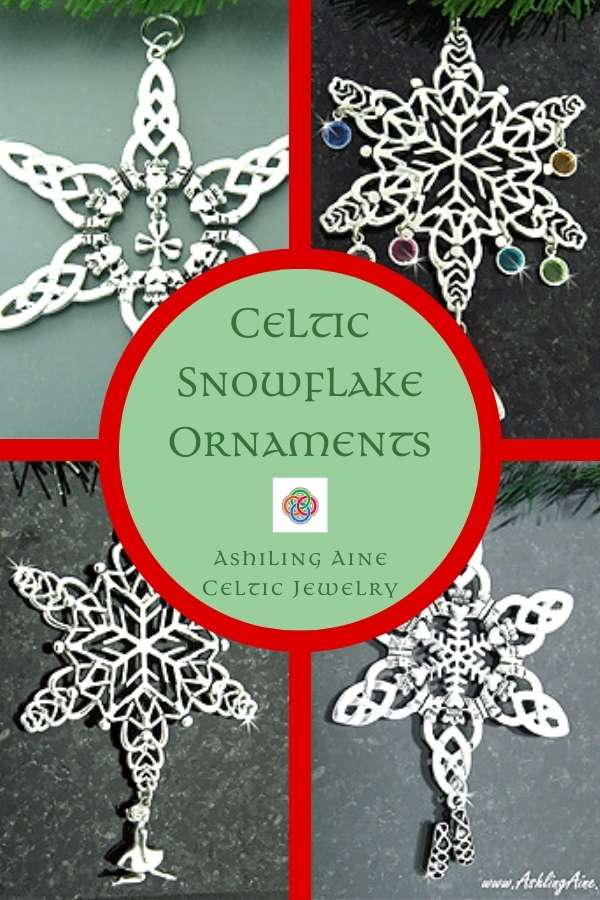 Four Celtic snowflake Christamas ornaments in a picture collage with a red border and central text circle in green with Celtic script text