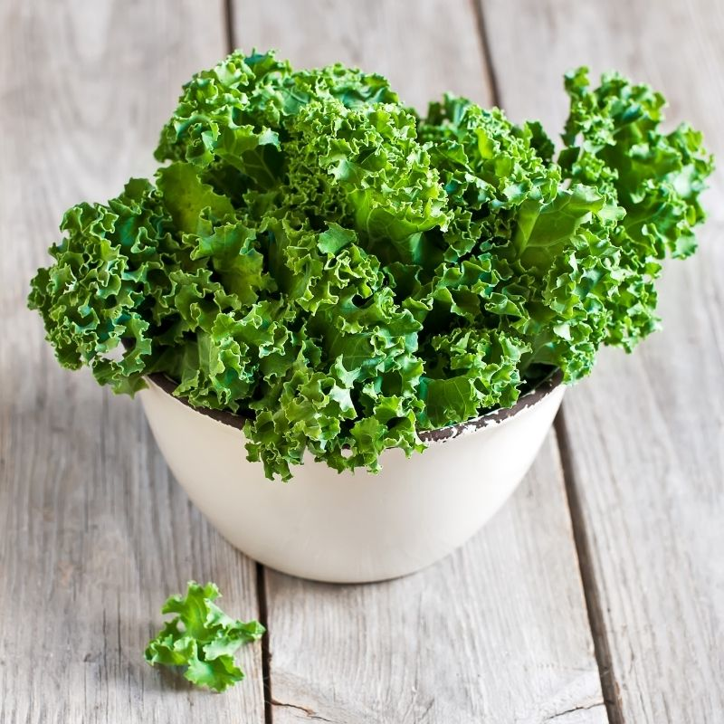 A white bowl of green curly kale leaves displayed on wooden boards