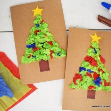 Brown card stock cards with tissue paper Christmas Tree motifs beside some tissue paper sheets