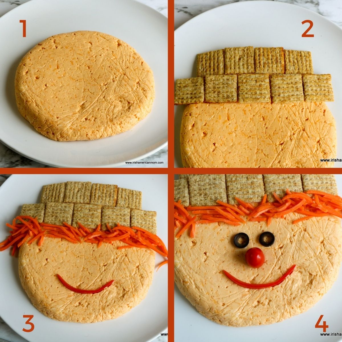 Four instruction steps illustrating how to assemble a scarecrow face on a cheese disc using crackers, carrot matchsticks, olives, tomato and a strip of pepper