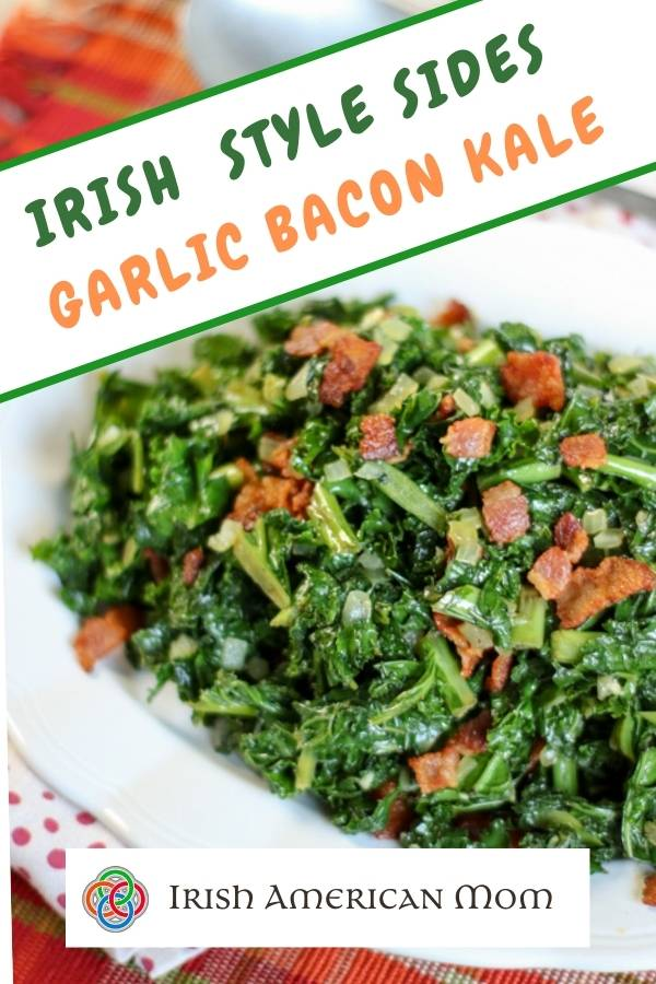 Green and orange text on a white banner across a white dish of sautéed kale with bacon bits