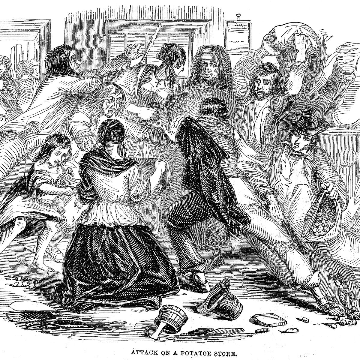 Black and white vintage sketch of people rioting and stealing grain