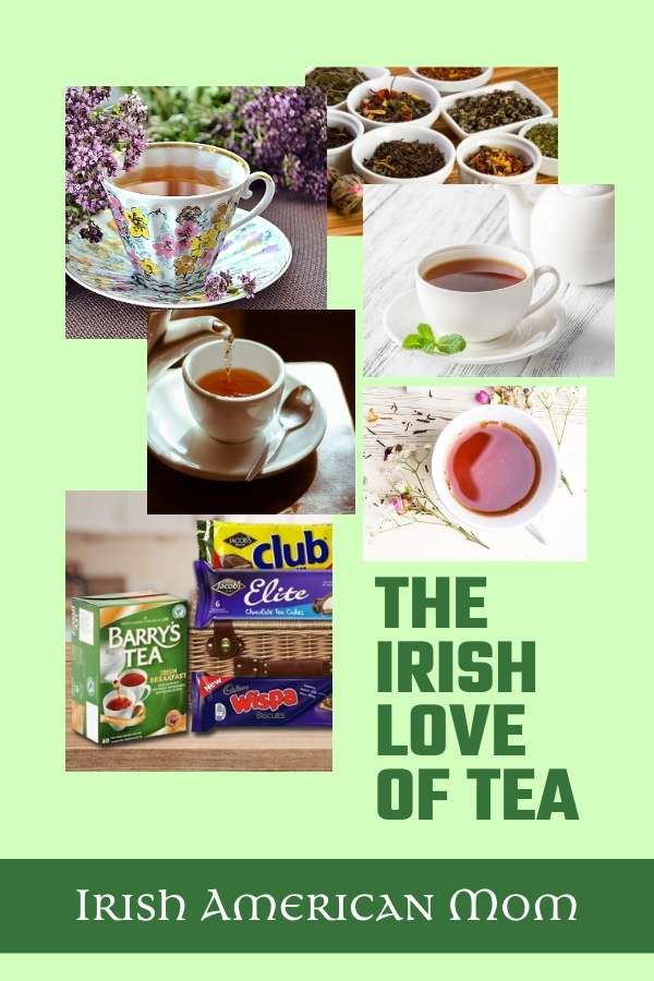 A green graphic with text and a photo collage of tea images