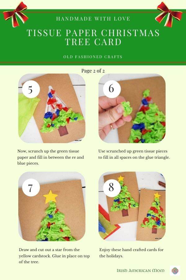 Four Christmas tree card craft images on an instruction sheet with text