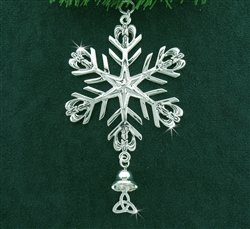 A silver snowflake ornament featuring angels on each ray with a Trinity knot angel pendant hanging from one spoke