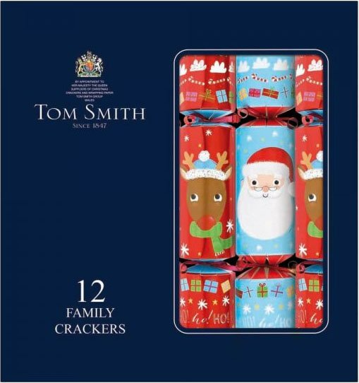 Santa and rudolph designs on Christmas crackers in a navy box with text