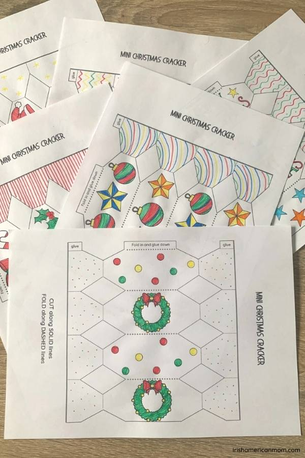 Christmas cracker outlines on white paper for coloring