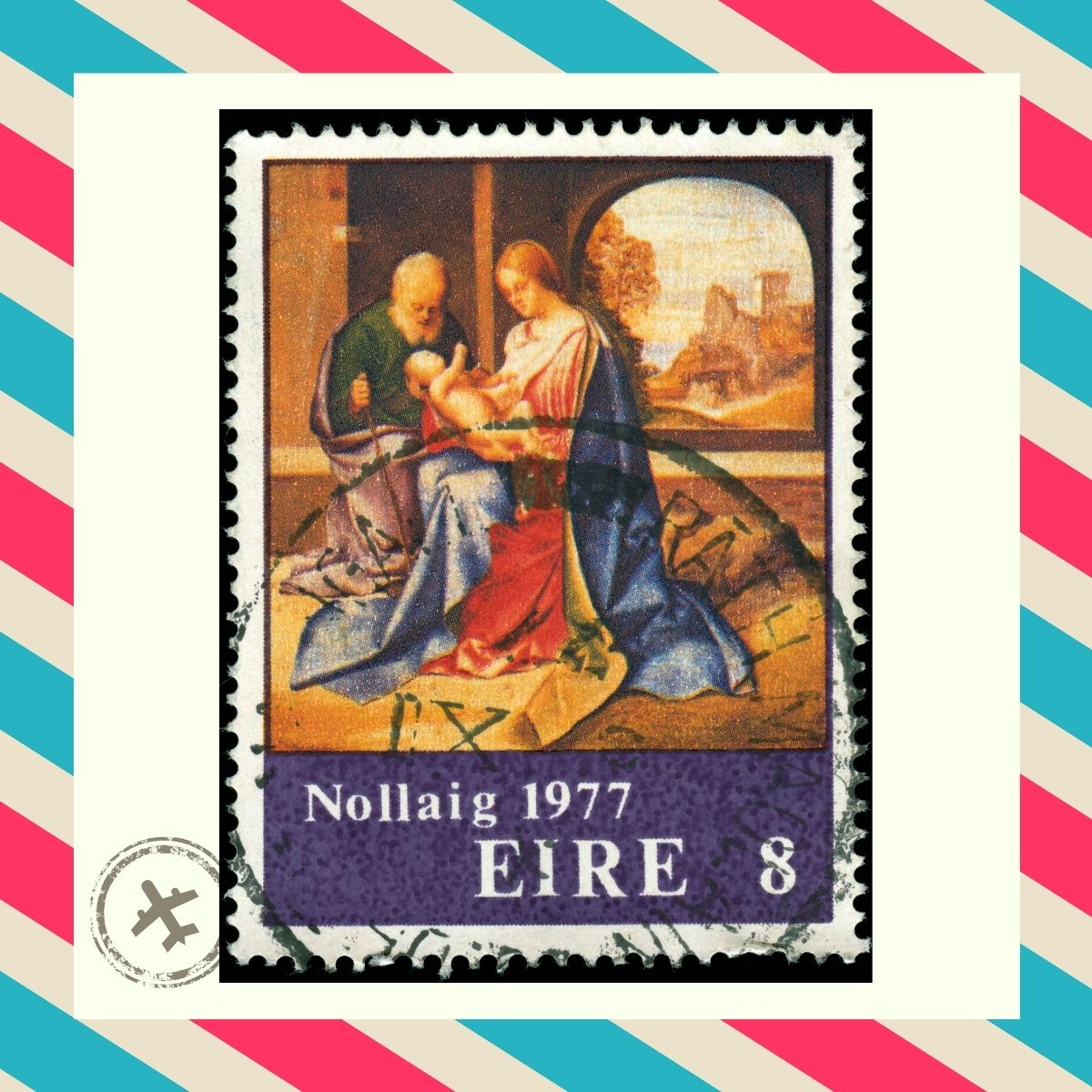 A nativity scene on a stamp surrounded by a striped red and blue airmail pattern