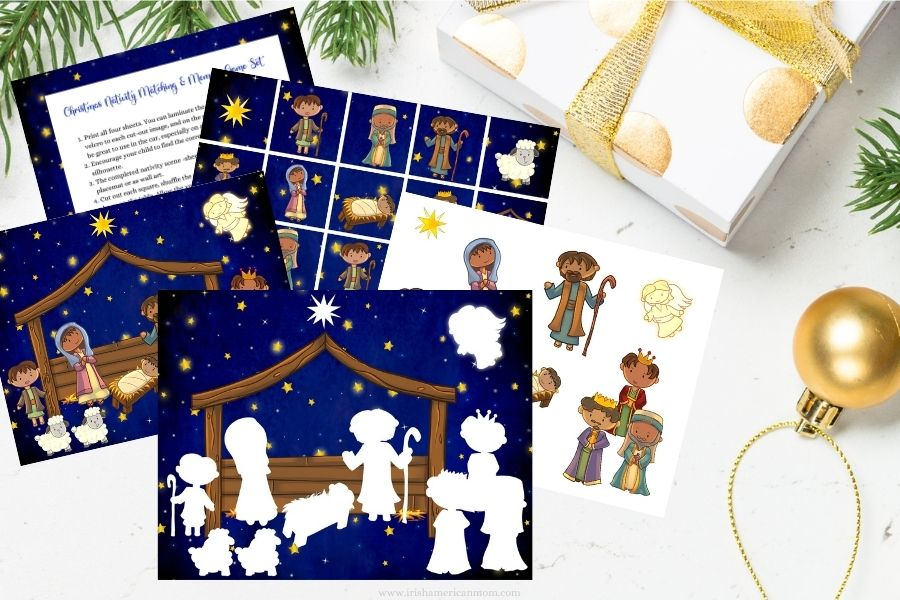 A set of craft sheets featuring a nativity scene and cut out characters