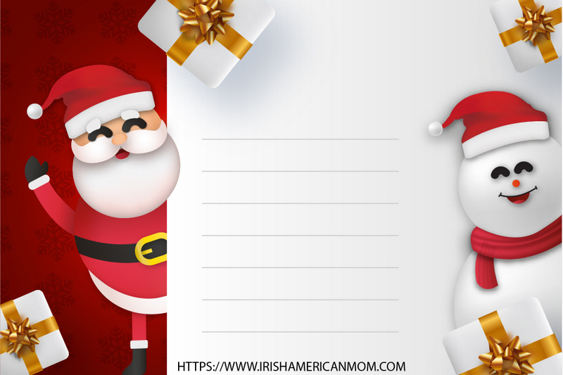 Lined white note held by Santa Claus and a snowman wearing a Santa hat