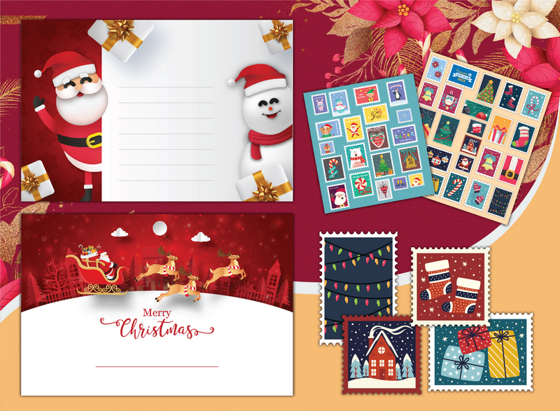 A Christmas note with Santa and a snowman beside a collection of play postage stamps