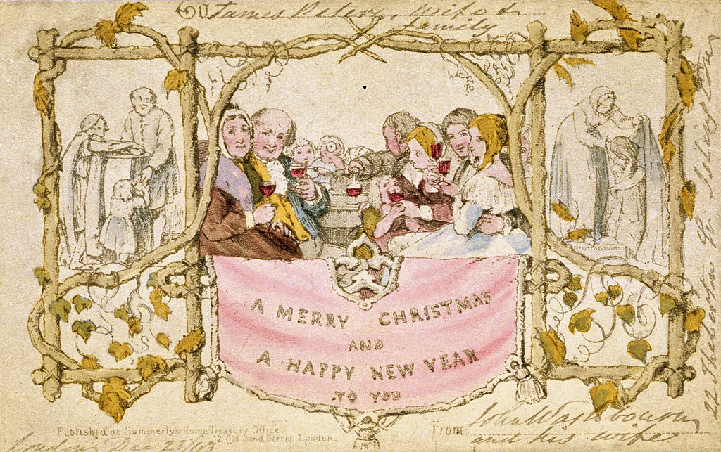 A vintage Christmas illustration of a family at a table drinking wine with surrounding images of people helping the poor
