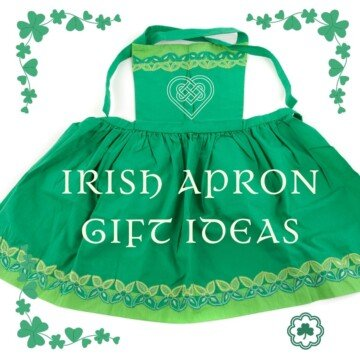 A green apron with text and shamrock borders