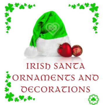A green and white plush Santa hat with red decorations, red Celtic style text and shamrock borders