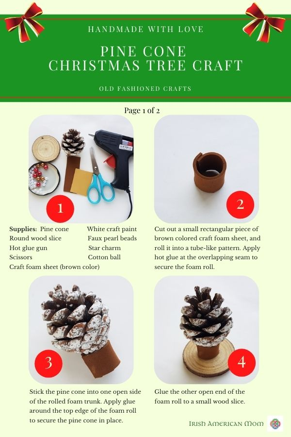 Four photo instruction sheet for pine cone Christmas tree craft