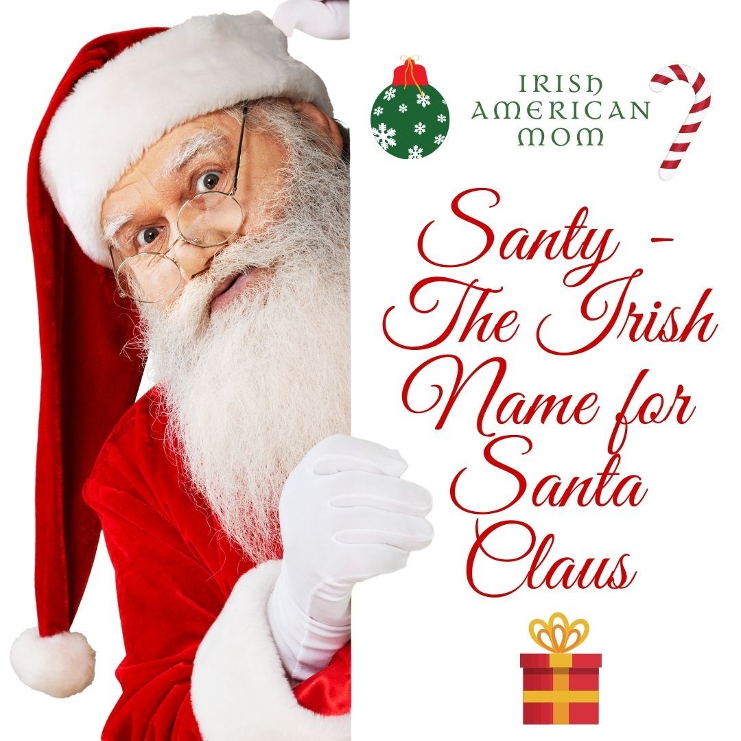 Santa Claus with a white beard peeps around a sign with red text