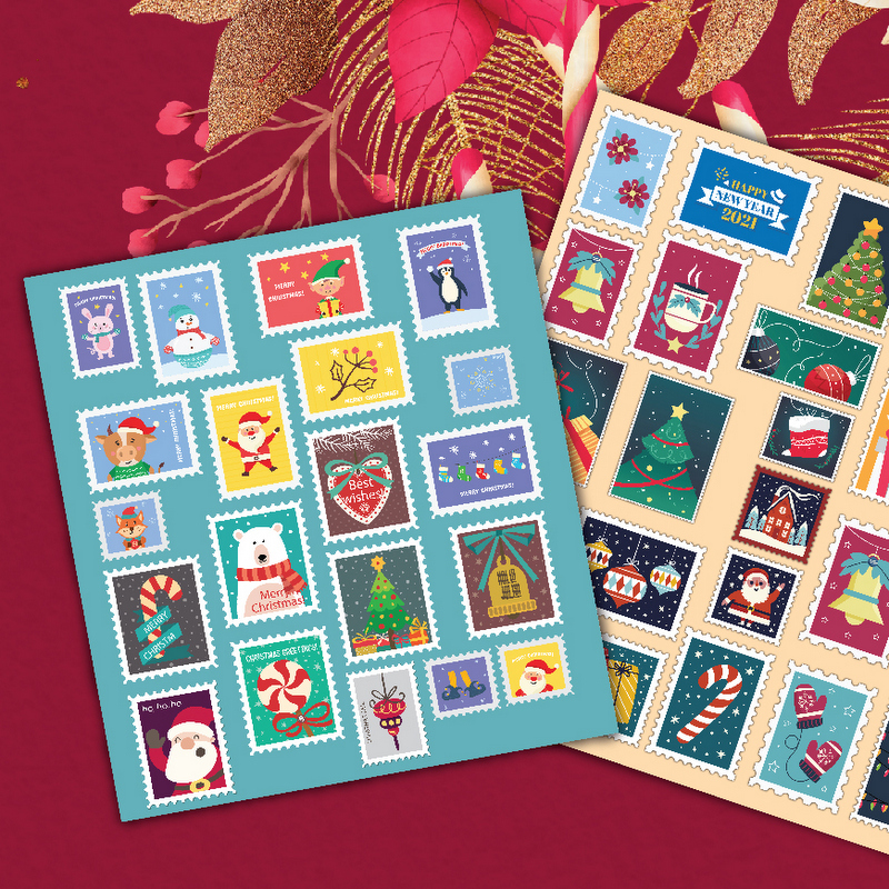 Sheets featuring stamps with Christmas images displayed against a red background