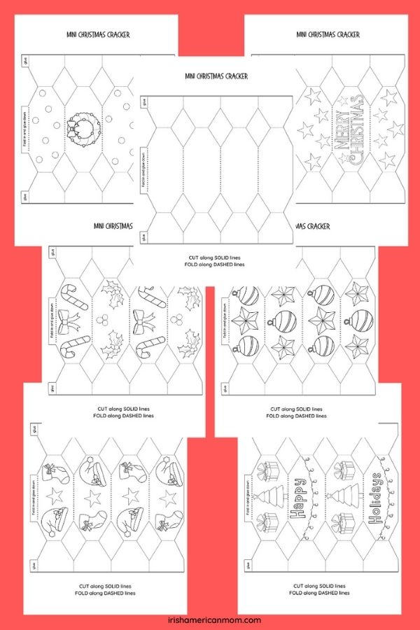 Coloring images in black sketch for making homemade Christmas crackers