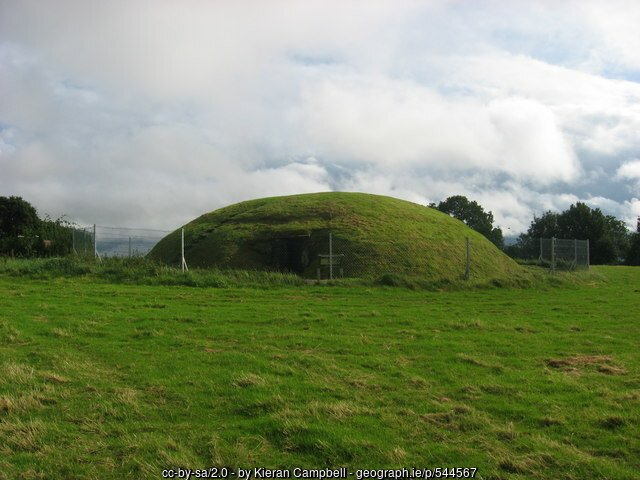 A grassy mound in the middle of a field