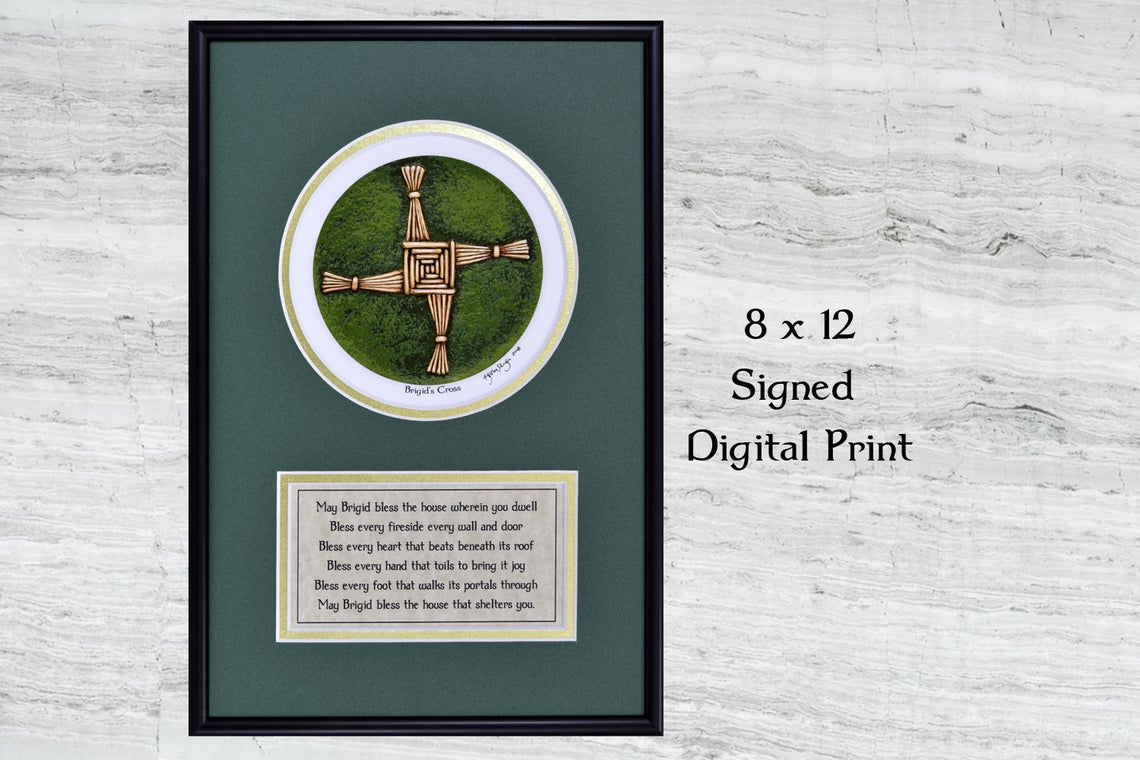 A reed cross framed print with text