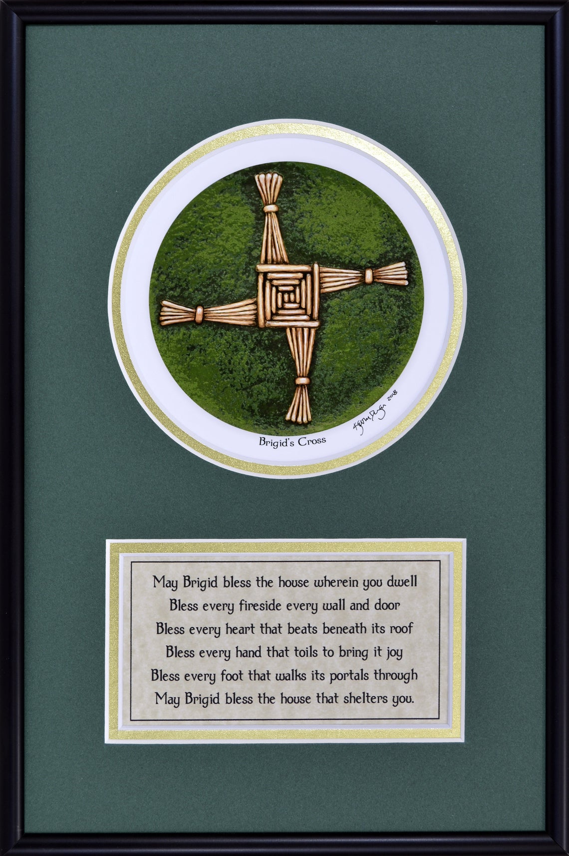 Framed print of a reed cross with a text box beneath