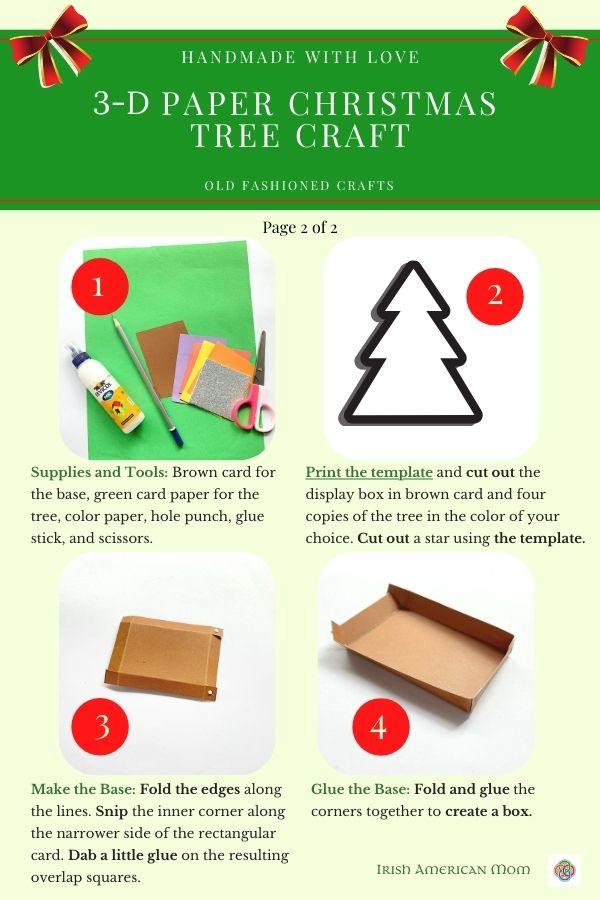 Instruction sheet with Christmas craft images and text