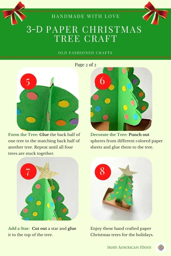 How to make a paper Christmas tree craft instruction sheet with images and text