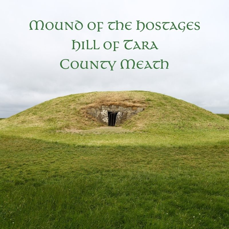 A green burial mound with an entrance portal and text overaly