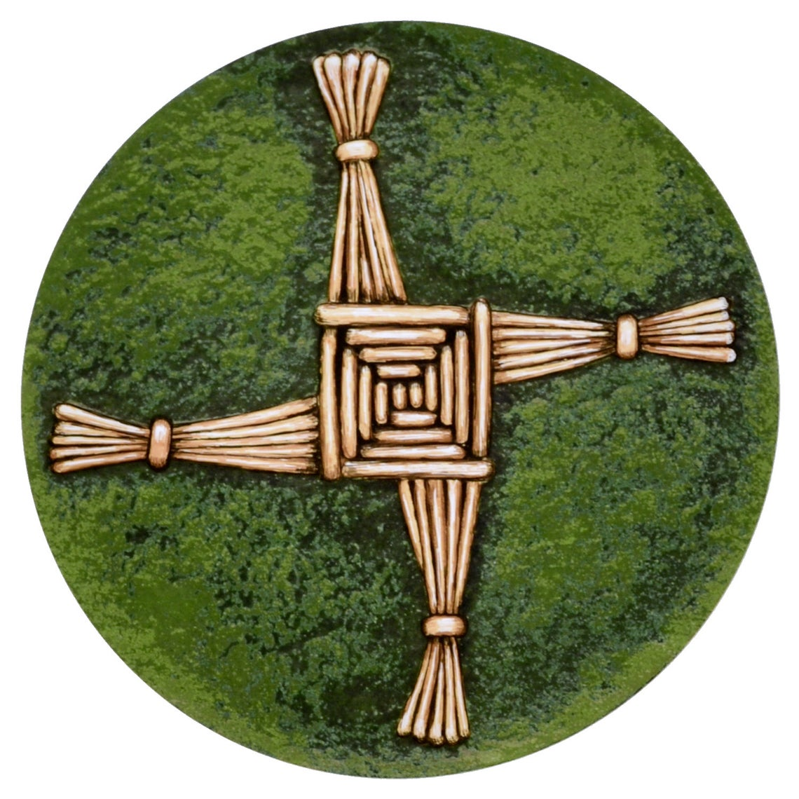 A bronze embossed reed cross in a green circle