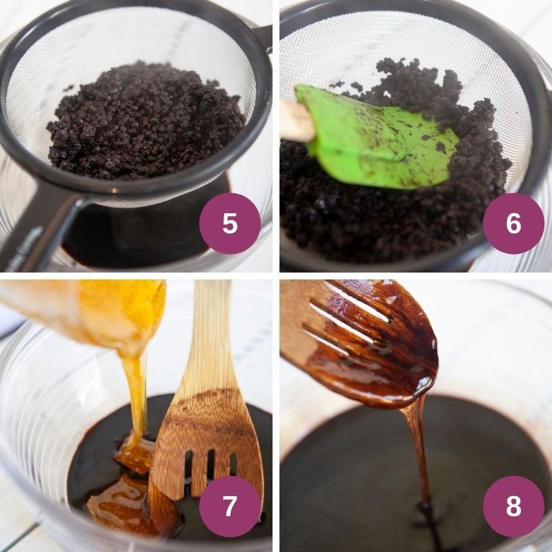 Straining elderberry syrup using a colander and spatula, and adding honey