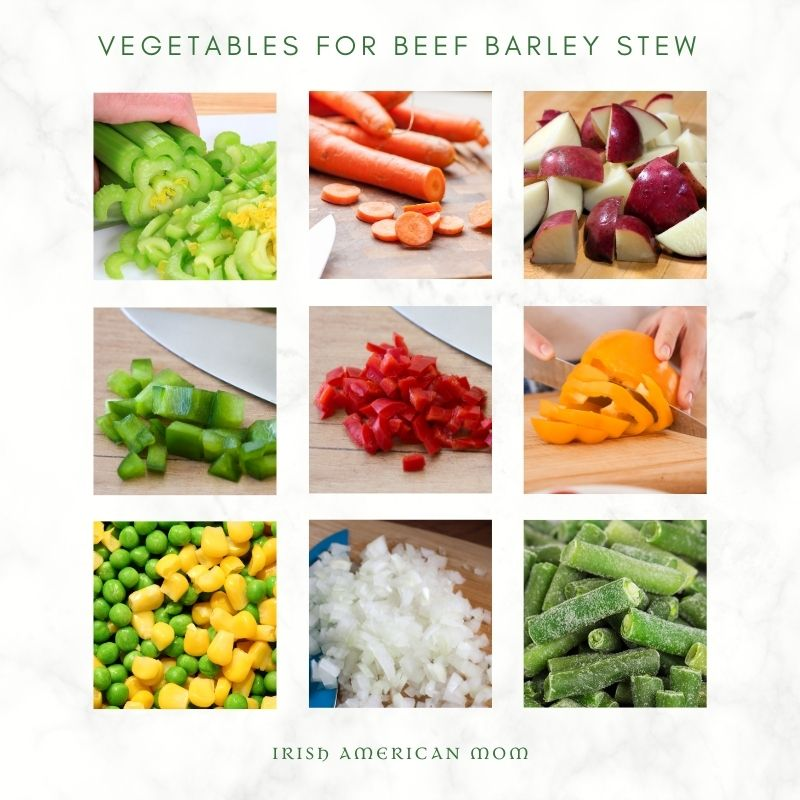 Chopped vegetables for stew in a 9 photo collage