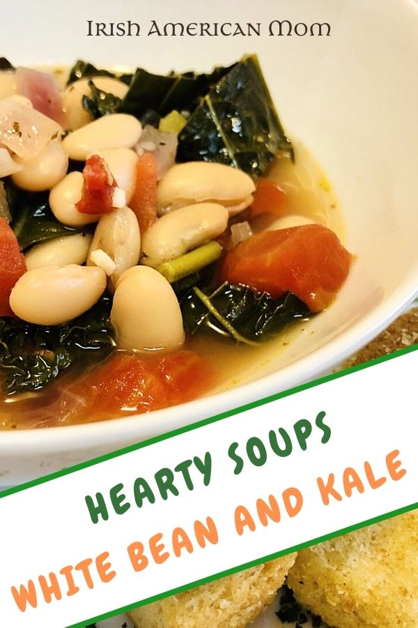 A bowl of kale and white bean soup with a text banner
