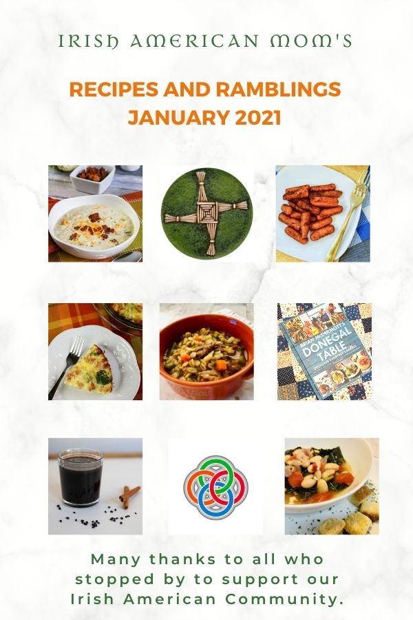 Picture collage with images of Irish symbols and food dishes with text banners