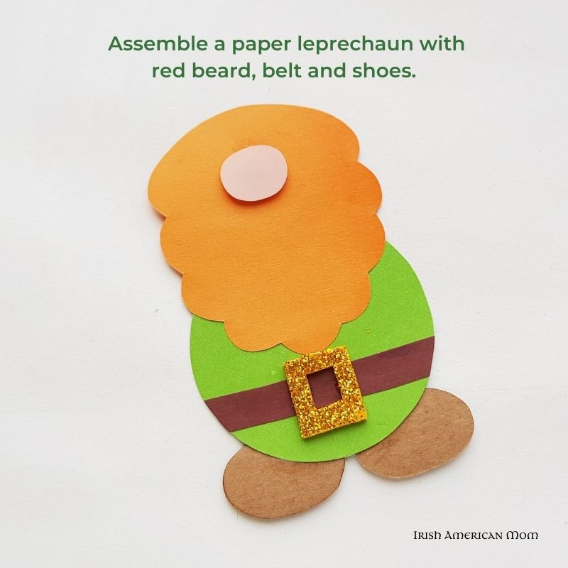 Paper leprechaun body with beard, belt and shoes