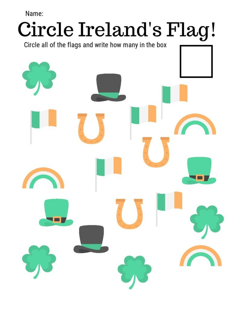 Shamrocks, leprechaun hats, flags and horseshoes on a worksheet with text