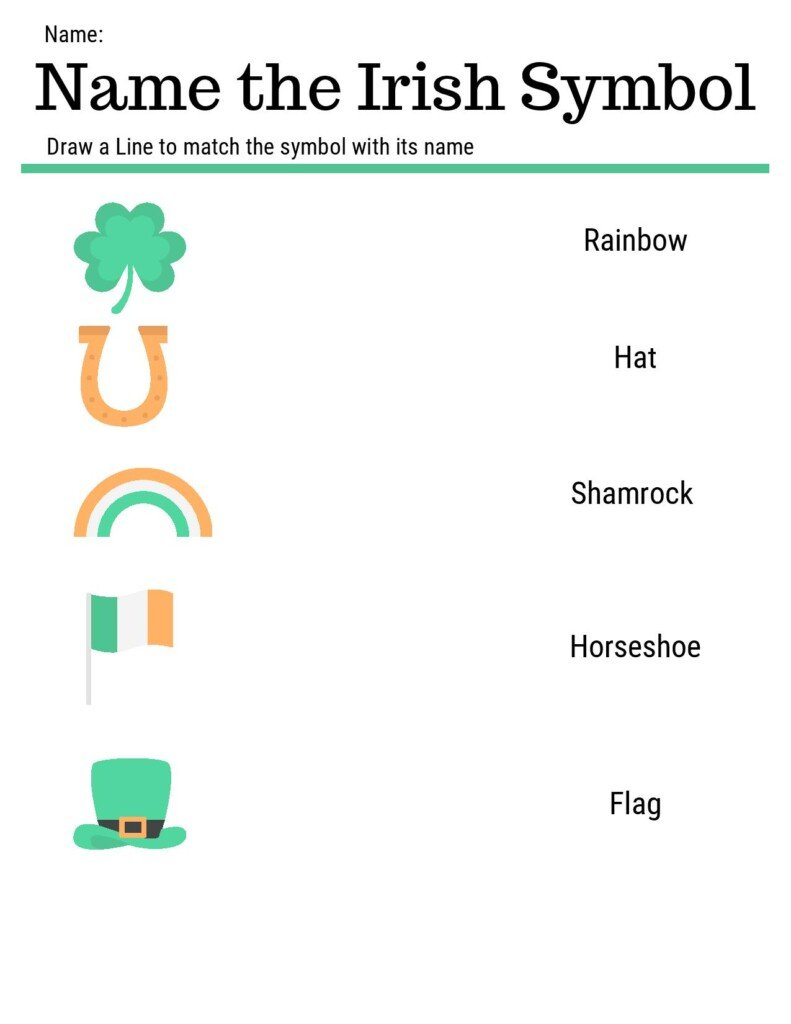 Irish symbols school worksheet with shamrock, horse shoe, rainbow, flag and hat