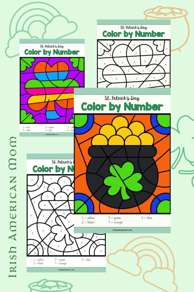 Four Irish image color by number worksheets on a graphic with text