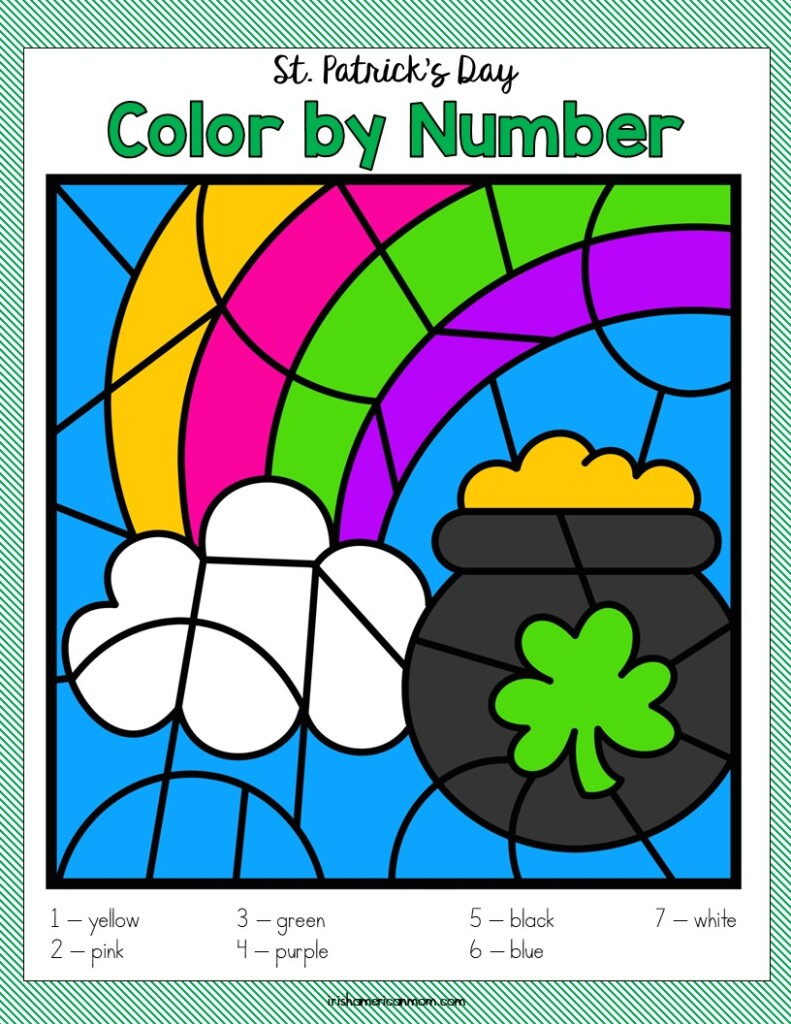 Pot of gold and rainbow coloring activity page
