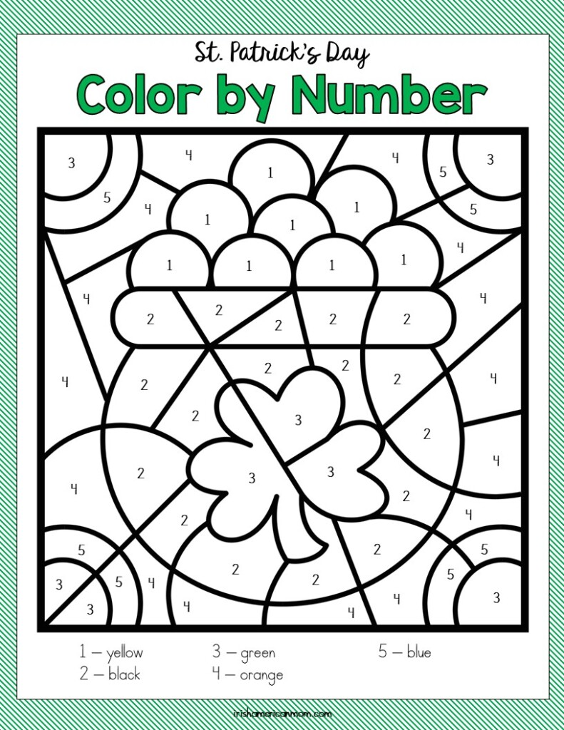 Unfinished color by number activity sheet featuring a pot of gold with shamrock