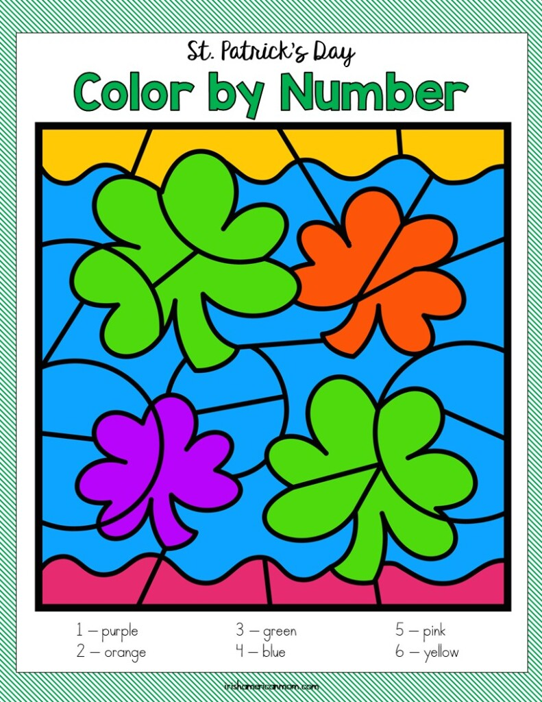 Four shamrocks on a preschool coloring page