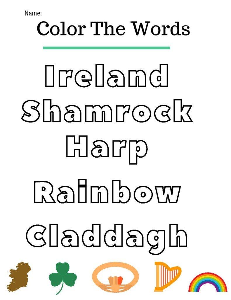 Text with Irish symbols on a school activity sheet