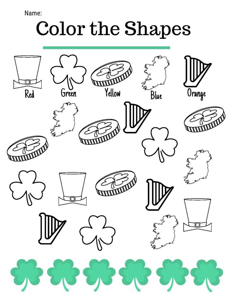 Irish symbols with shamrocks, harps, maps and coins