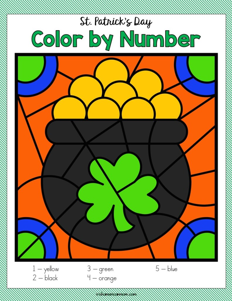 Pot of gold with coins and shamrock on a color by number activity sheet
