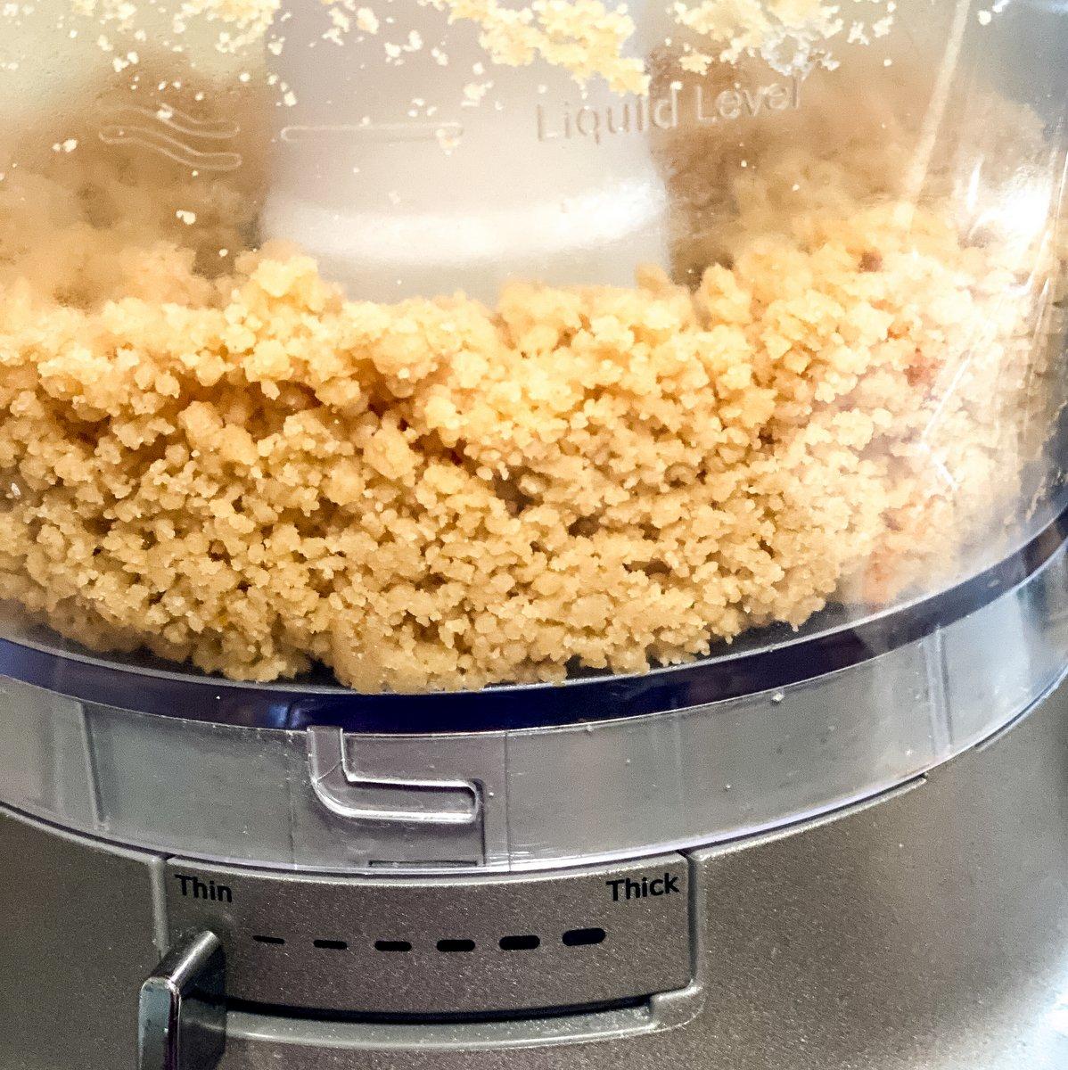 Cake crumbs in a food processor