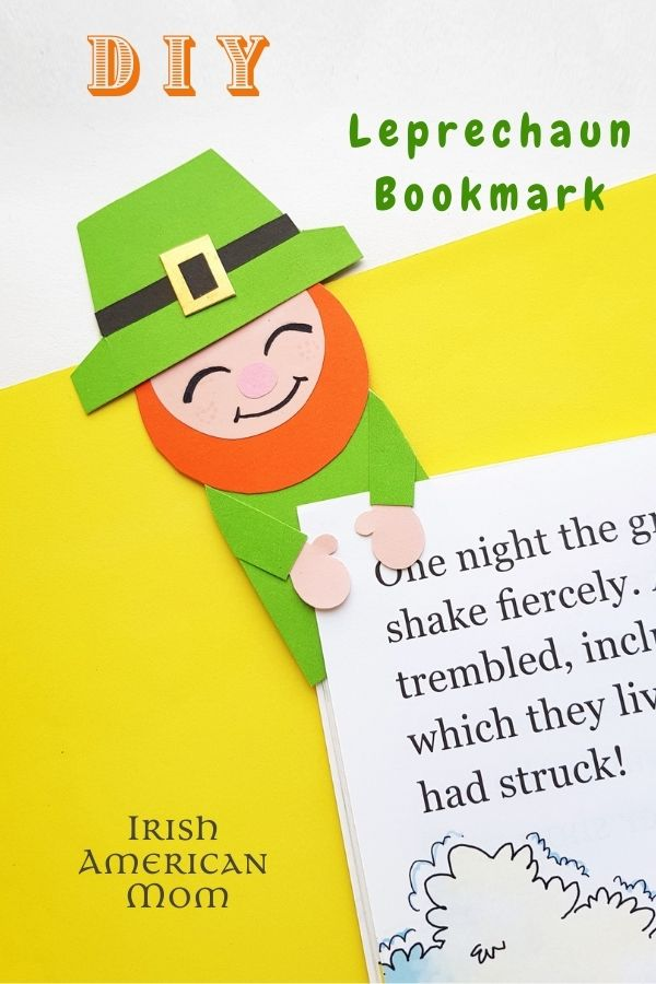 A paper leprechaun bookmark on a page with text overlay