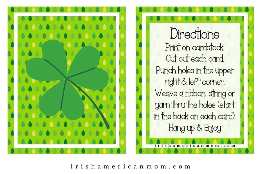 Shamrock and text box on green background